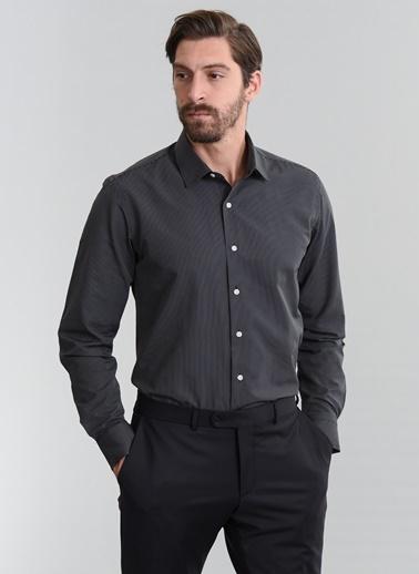 People By Fabrika Çizgili Gömlek Siyah